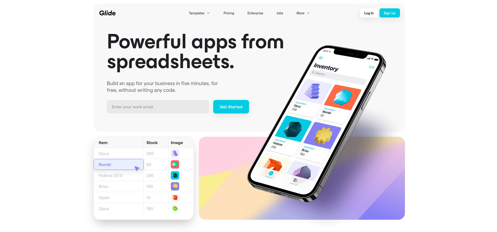 Glide turns spreadsheets into powerful apps for work, without writing any code. Pick a spreadsheet or start with a template, customize your app, then share it instantly with anyone
