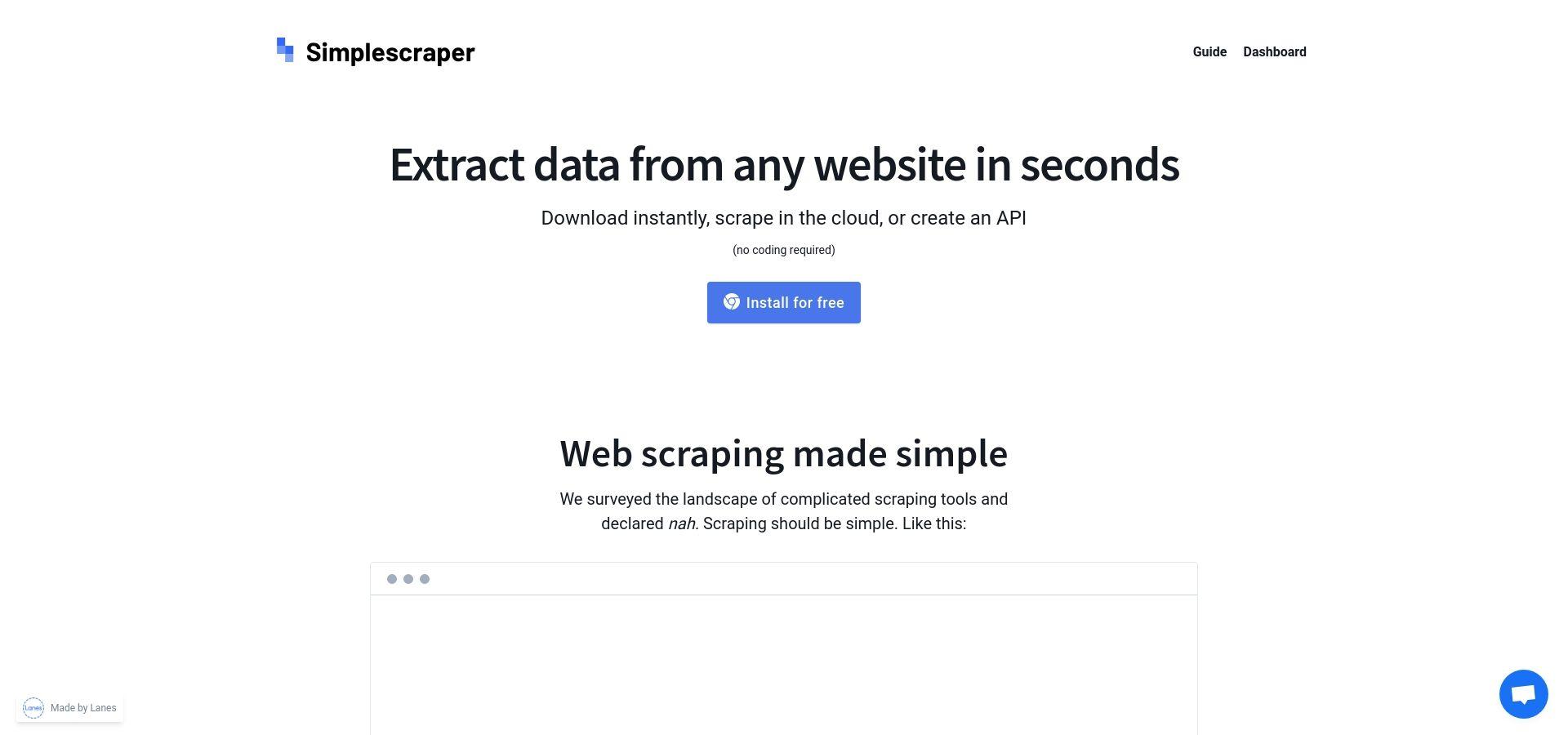 Simplescraper — Scrape Websites and turn them into APIs