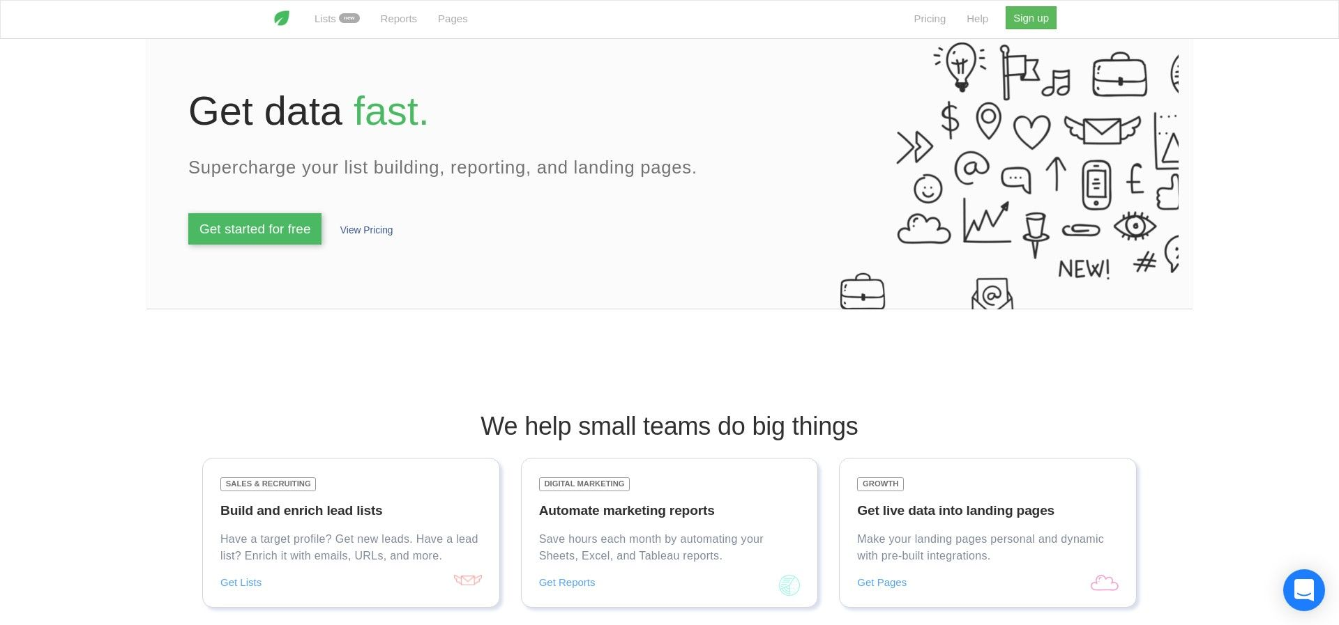 Blockspring - get data for prospecting, reports, and landing pages
