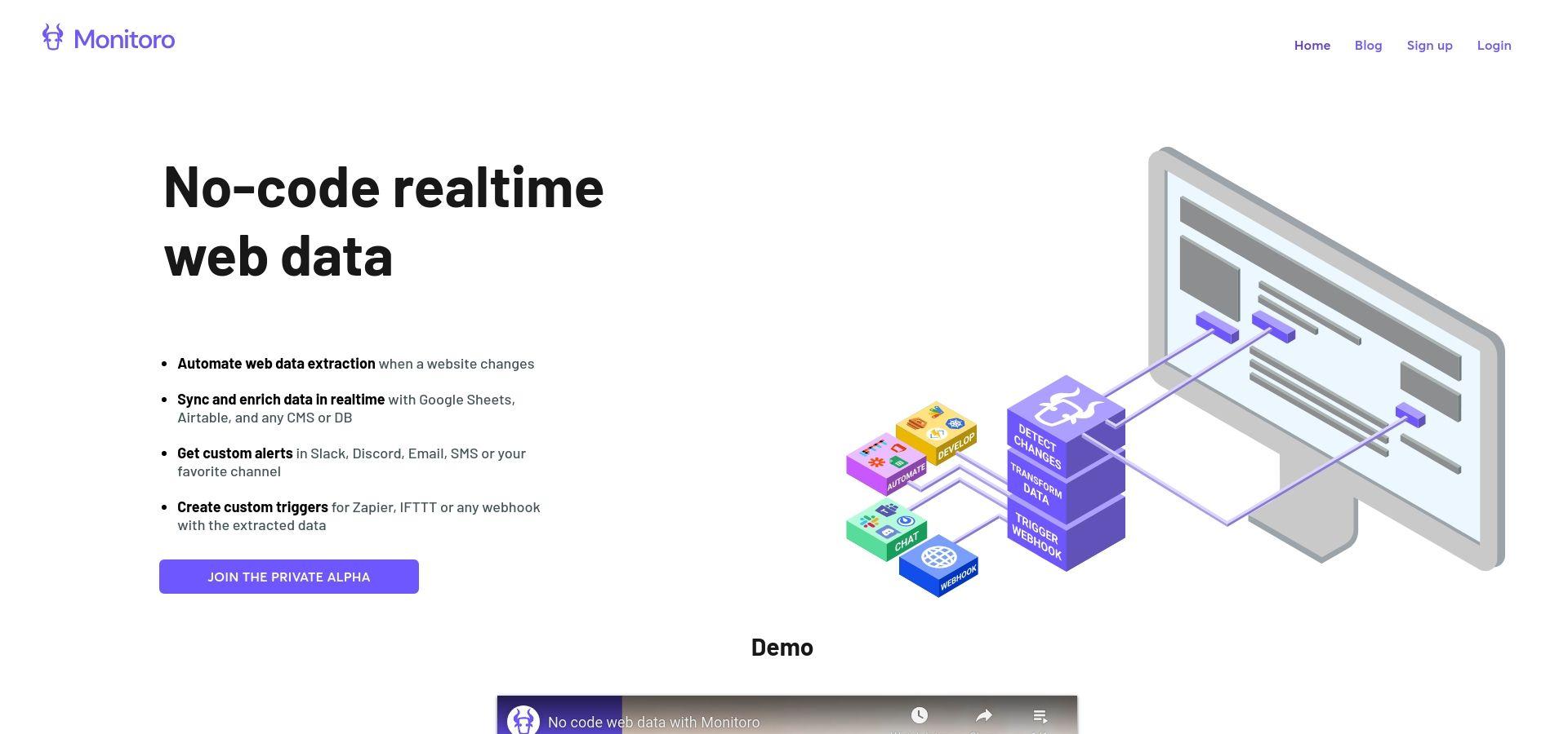 No-code website monitoring and data integration | Monitoro