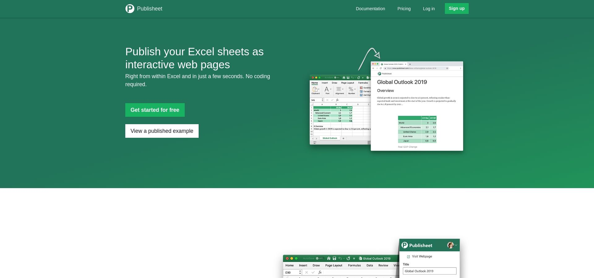 Publisheet - Convert spreadsheets to web pages with formula support, right from within Excel. No coding required.